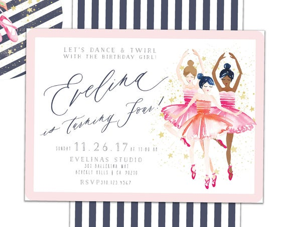 Ballerina invitation - Ballerina Birthday - Ballet invitation - calligraphy invitation - kids birthday invitation - freshmint paperie