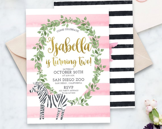 zebra invitation - first birthday invitation - safari invitation - zoo invitation - jungle invitation - freshmint paperie