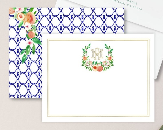Personalized Stationery - Monogram Note Cards - Peach Note Cards - Stationery Suite -  Peach Floral Watercolor - Set 18