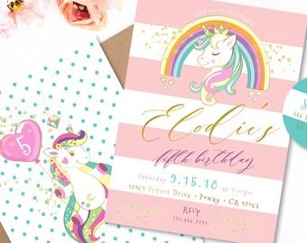 Unicorn invitation | unicorn birthday invitation | unicorn party | magical unicorn invitation | unicorn party | unicorn face