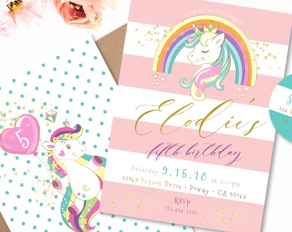Unicorn invitation | unicorn birthday invitation | unicorn party | magical unicorn invitation | unicorn party | unicorn face