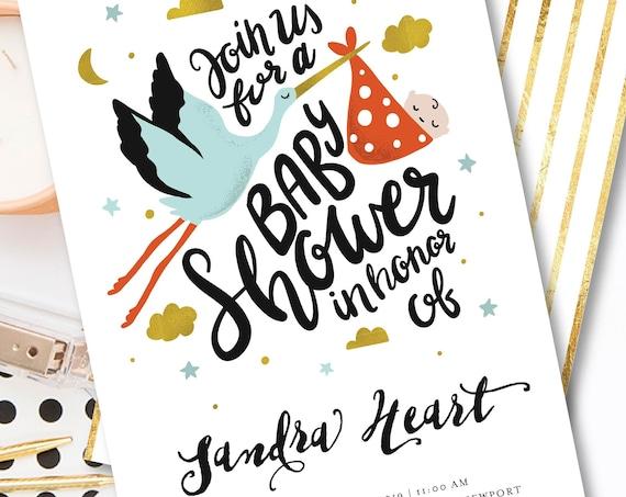 Stork invitation - baby shower invitation - Calligraphy Baby Shower invitation - Stork invite - Freshmint Paperie
