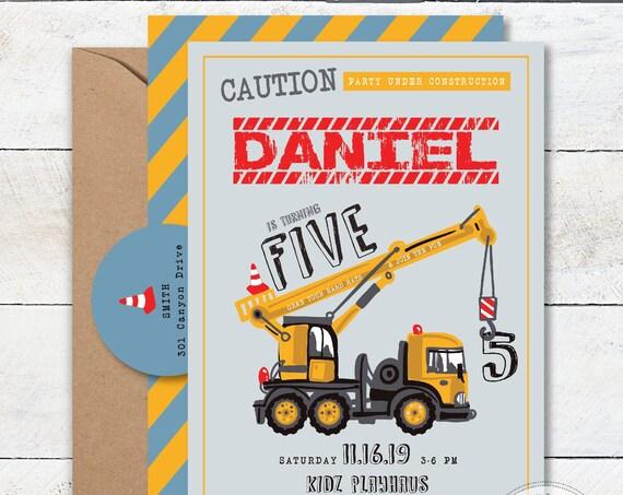 Construction invitation Dump Truck invite Truck invitation Caution Invitation Boys invitation Construction Birthday