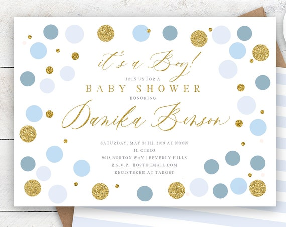 Confetti Baby Shower invitations baby blue & Gold Baby Shower Invitation boy Glitter Polka Dots Modern Baby Sprinkle Invite