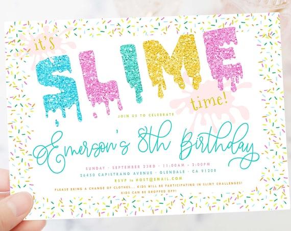 SLIME invitation | Slime Birthday Invitation | Slime Party invitation | Double Dare invitation | Glitter Slime Party | Slime confetti