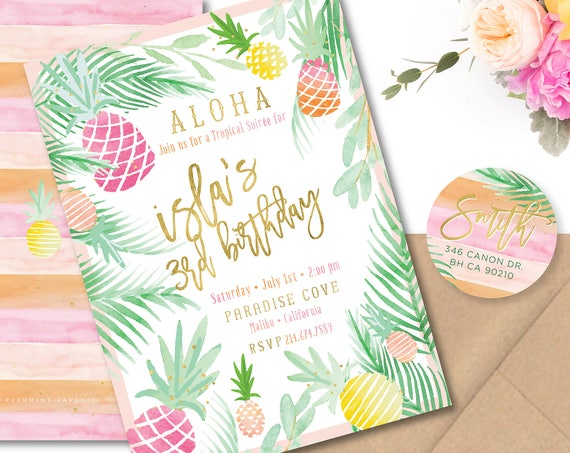 LUAU invitation - tropical invitation - aloha invitation - hawaiian invitation - pineapple invitation - paradise invite - freshmint paperie