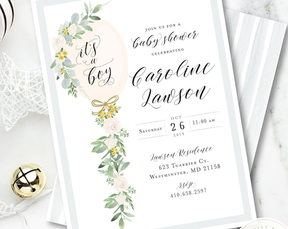 Baby Shower Invitation Neutral, Balloon Tassel Invitation, Neutral Baby Shower Invitation, White Greenery, Boho Baby, Eucalyptus