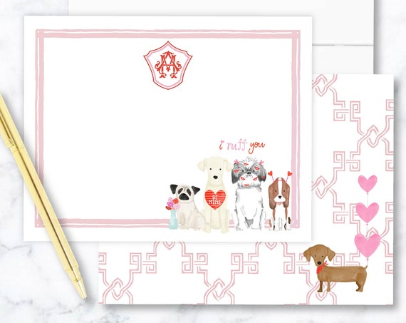 Personalized Stationery - Watercolor Valentine's Day Puppy - Valentine's Day Gnomes - Puppy Love Stationery - Valentines Stationery - set29