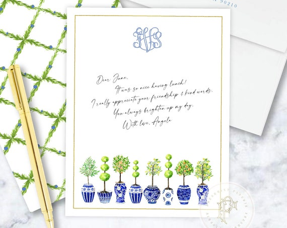 Personalized Stationery - Topiary Note Cards - Topiary Stationery Note Cards - Ginger Jar Topiary - Chinoiserie - set27