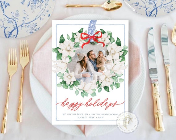 Chinoiserie Holiday Cards, Magnolias Christmas card, Photo Christmas cards, Photo holiday cards, Pretty Holiday Cards, Magnolia wreath