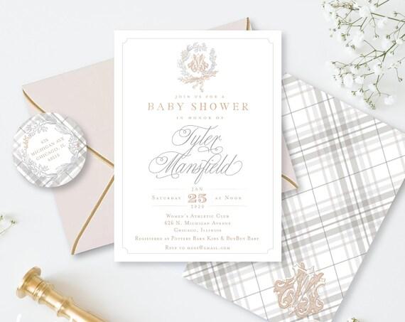 Monogram Baby Shower Invitation - baby shower invitation - baby shower invitation - Plaid invitation - Neutral baby shower