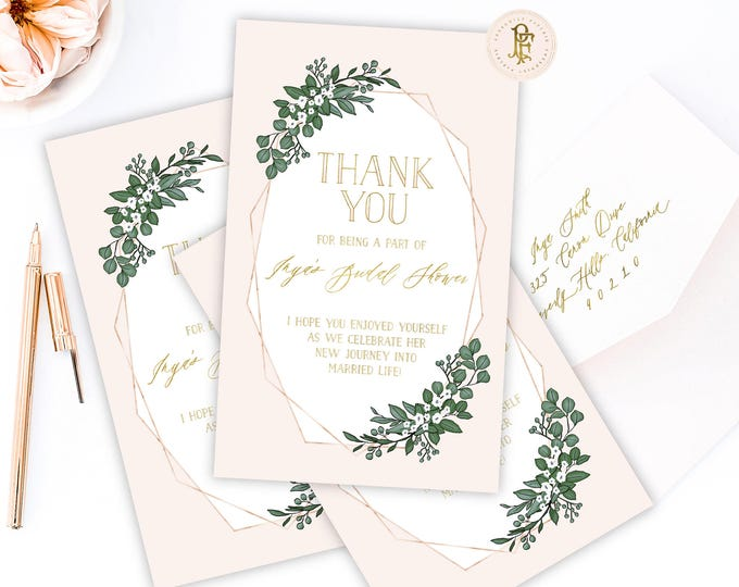thank you cards | menu cards | geometric menu | pretty thank you cards | freshmint paperie