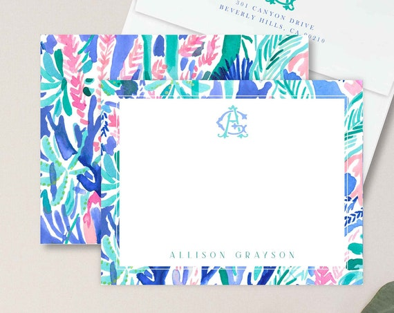 Personalized Stationery - Monogram Note Cards - Monogram Stationery Note Cards - Stationery Suite - lily inspired - set34