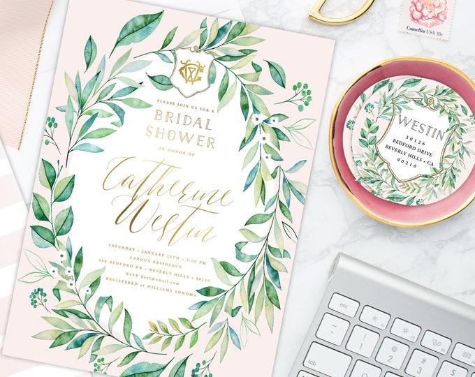 Bridal Shower Invitation - Eucalyptus wreath invitation - Eucalyptus invitation - calligraphy - Wreath invitation - Eucalyptus wreath