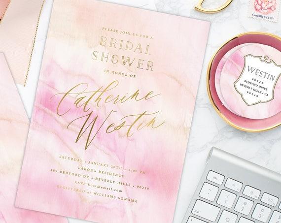 Bridal Shower Invitation - Pink marbled invitation - Geode invitation - Agate invitation - Pink Watercolor invitation - Watercolor invite