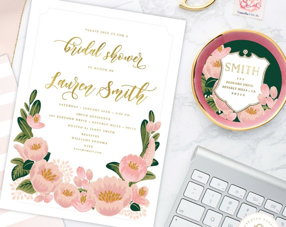 Bridal Shower Invitation - Watercolor Floral wreath invitation - Floral invitation - Wreath invitation - Watercolor invitation - 202