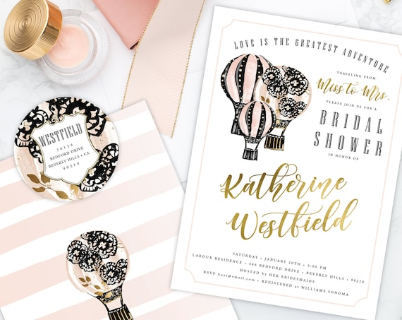 Love is the greatest adventure - Miss to Mrs Bridal Shower Invitation - Floral invitation - Hot air balloon invitation