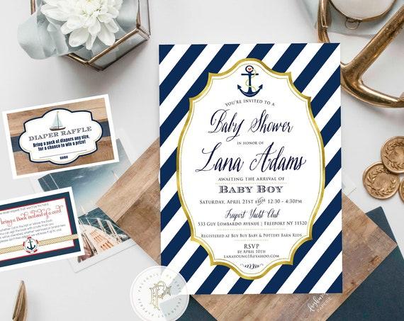 Nautical Baby Shower Invitations - Nautical Invitation - Nautical Shower - Nautical Party Invitations - ahoy its a boy