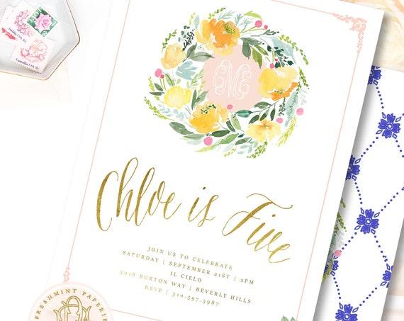 Lemon invitation - Lemon Floral Birthday invitation - lemonade invitation - Tropical Birthday Invitation - Pink Lemons invitation