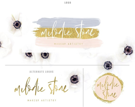 watercolor logo -  logo design  - calligraphy logo - makeup logo - brush strokes logo - gold logo - freshmint paperie