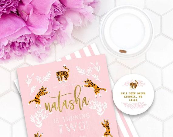 Tiger invitation - Party Animal Invitation - Zoo Party Wild Animal Invitation - Jungle Invitation - Tiger Theme - Pink Tiger Birthday