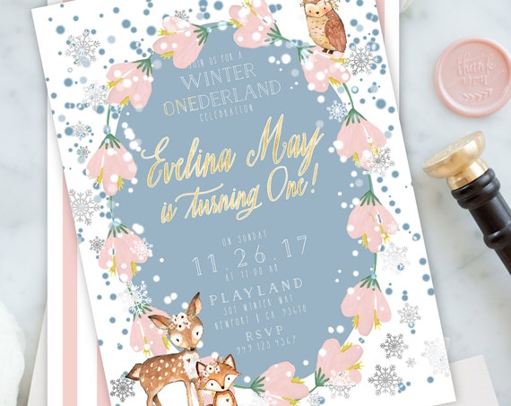Winter ONEderland invitation - winter wonderland invitation - winter woodland invitation - Snow invitation - woodland invitation