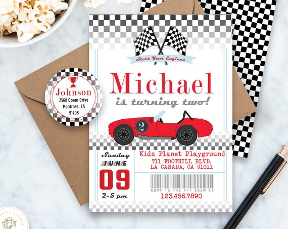 Car invitation - Race Car Invitation - Cars Invitation - Retro Car Invite - Boys Birthday - Vintage Car Invitation - Formula One Invite