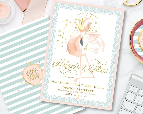 Flamingo invitations - flamingo birthday invitation - birthday invitation - pink flamingo invitation - pretty flamingo - freshmint paperie