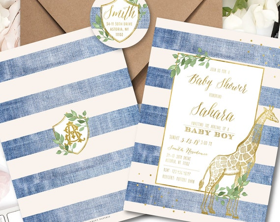 Giraffe invitations - safari invitation - baby shower invitation - baby boy shower invitation - Denim invitation - freshmint paperie