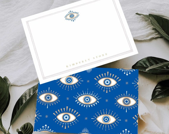 Evil Eye Note Cards - Monogram Note Cards - Monogram Stationery Note Cards - Evil Eye Stationery - Gemstone Note cards - set46