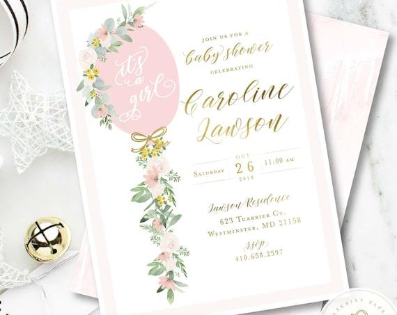 Baby Shower Invitation Neutral, Pink Balloon Tassel Invitation, Its a Girl Shower Invitation, White Greenery, Boho Baby, Eucalyptus