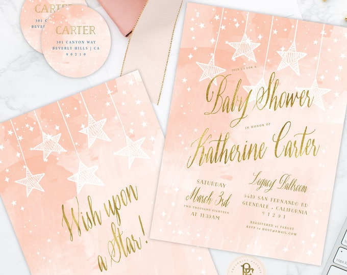 Wish upon a Star invitation - Star is Born invitation - Peach baby shower invitation - Twinkle Twinkle little star invitation