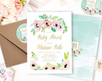Watercolor floral invitation - baby shower invitation - Pink floral baby shower invitation - Watercolor flower invitations - floral wreath