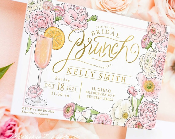 Bridal Brunch  Invitation - Brunch & Bubbly invitation - Bridal Shower Invitation - Mimosa invitation - Champagne invitations