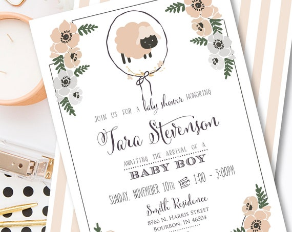 Sheep Invitation - baby shower invitation - baby lamb invitation - calligraphy invitation - lamb invitation - Neutral baby shower invitation