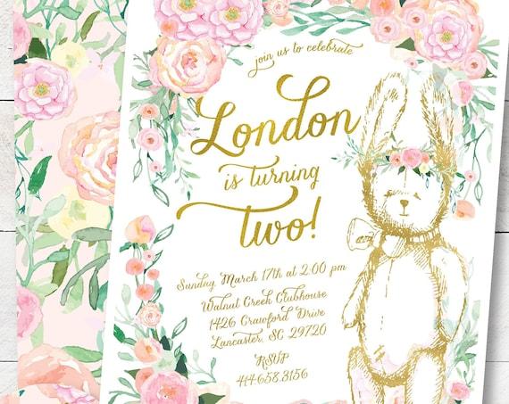 Bunny invitation | Bunny Birthday Invitation | Rabbit invitation |  Easter Invitation | Easter Bunny Invite | Floral Invite