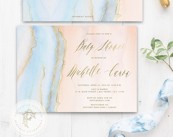Agate invitation - Geode invitation - Baby Shower invitation - Watercolor invitation - Baby Shower invite - Marble invitation