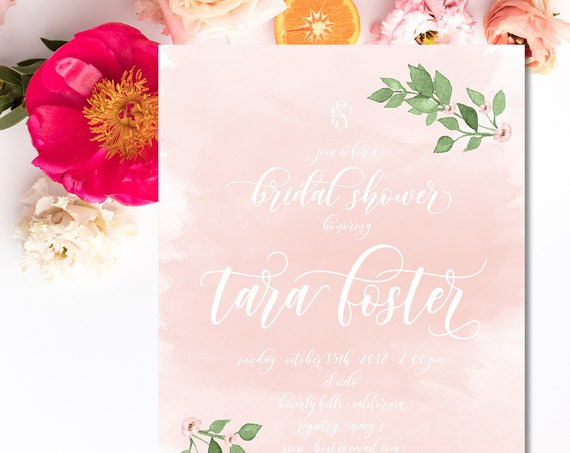 Blush watercolor invitation - leaf invitation - bridal shower invitation - watercolor invitation - floral invitation - greenery invite