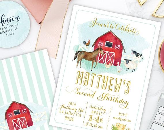 Barnyard invitation - farm invitation - barnyard birthday invitation - kids birthday invitation - Horse Invitation - Horse birthday invite