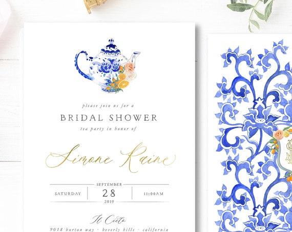 Tea Party invitation Brunch Invitation Oranges invitation Bridal Shower Invitation High Tea invitation Bridal Shower Tea Party