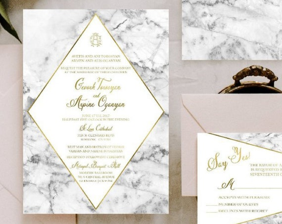 Classic Wedding Invitation | Wedding invitation | Calligraphy Wedding Invitation | Marble invitation | Elegant Wedding invitation