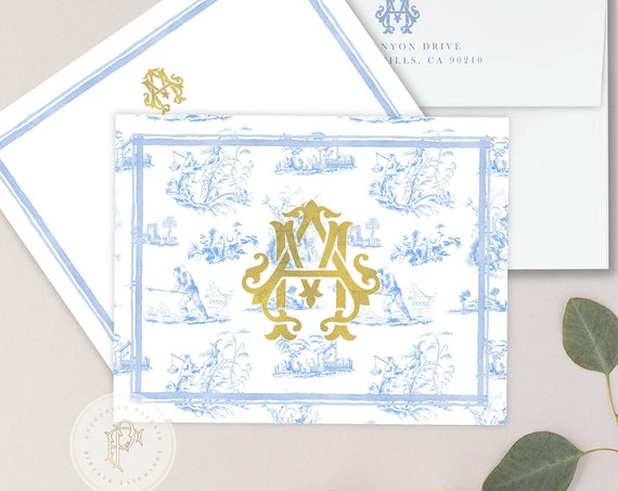 Personalized Stationery - Ginger Jar Note Cards - Monogram Note Cards - Chinoiserie Notecards - Chinoiserie - set23