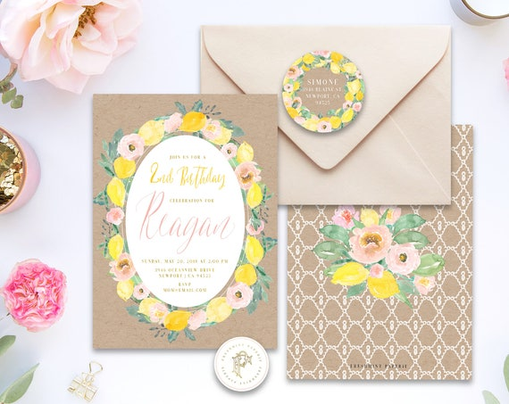 Lemon Birthday invitation | Floral Lemon Birthday Invitation | Birthday invitation |  Lemon Invitation | Easter Invite | Pink Lemons