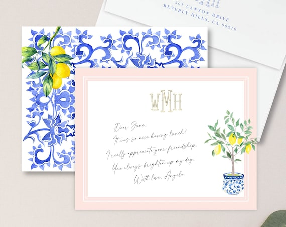 Personalized Stationery - Monogram Note Cards - Chinoiserie Ginger Jar Note Cards - Stationery Suite - Lemon Suite