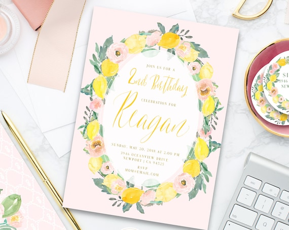 Lemon Birthday invitation | Floral Lemon Birthday Invitation | Birthday invitation | French Country Invitation | Countryside invite