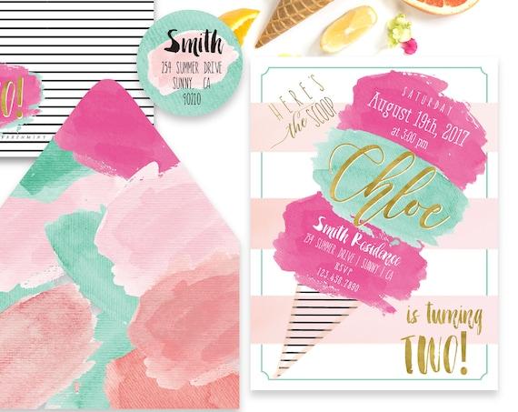 Printable invitations - ice cream invitation - ice cream theme - calligraphy - watercolor invitation - freshmint paperie