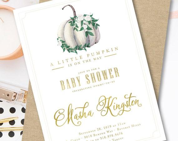 Pumpkin Baby Shower invitation | pumpkin invitation | Pumpkin invitation | little pumpkin invitation | thanksgiving invitation