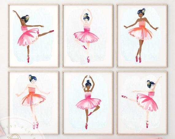 Dance wall art, Kid's Wall Art, Ballerina Wall art, Baby Girl Nursery Wall Art, Nursery Decor, Girls Wall Art, Ballerina Art, Ballet Art