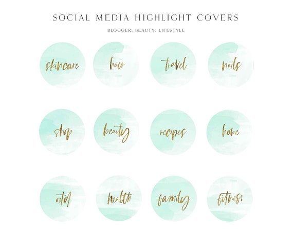 Instagram Story Highlight Icons - Blogger Instagram Story Covers, watercolor Icons, Story cover, Instagram, social media icons, vol.6