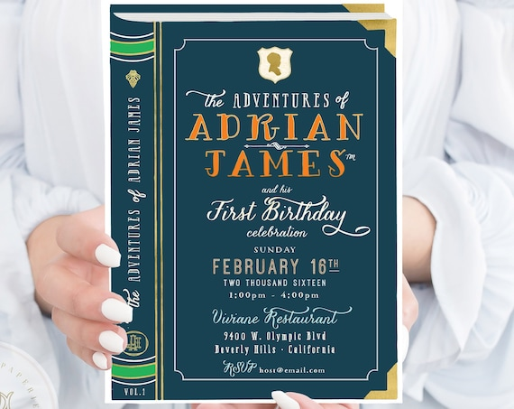 Storybook invitation | library invitation | first birthday invitation | adventure invitation | boys invitation | book invite | storybook